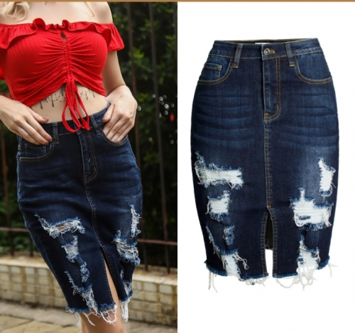 New European and American water washing and grinding fringed denim skirt wrapped buttocks skirt