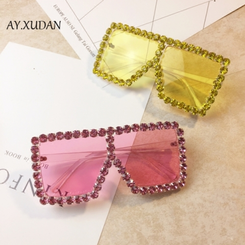 Western style exaggerated heavy metal glasses large frame color lenses sunglasses stage walk