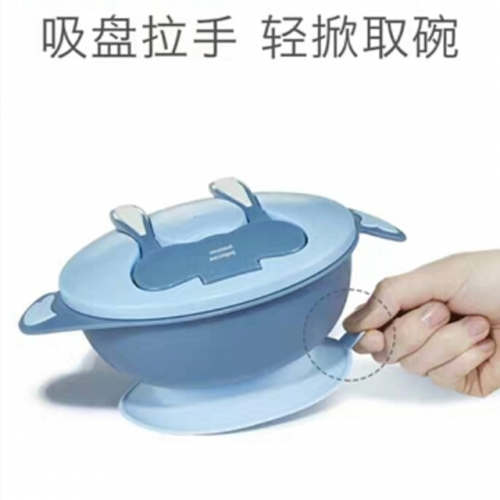 Baby bowl spoon set children's tableware anti-fall anti-ironing portable suction bowl