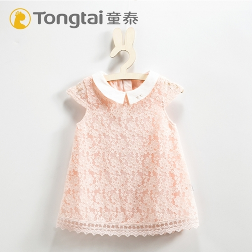 Girls' summer new lapel skirt infant temperament dress