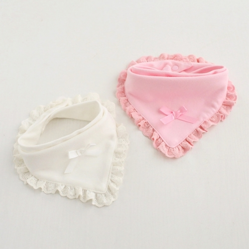 Baby girl double pure cotton lace bow  saliva towel