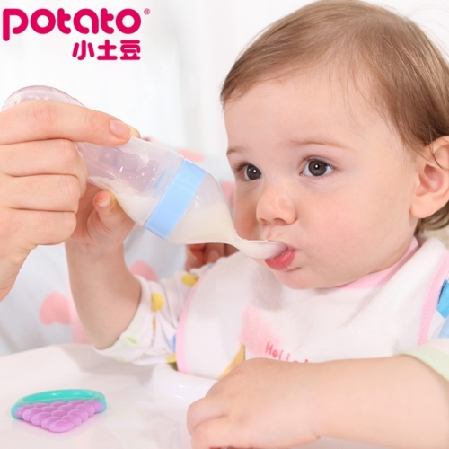 Baby, silicone extruded rice paste spoon, milk bottle spoon, baby supplementary feeding spoon