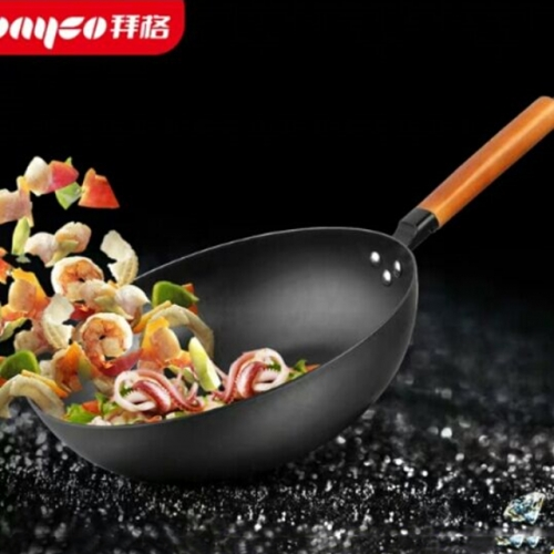Wooden handle 32cm thickened wok iron pan