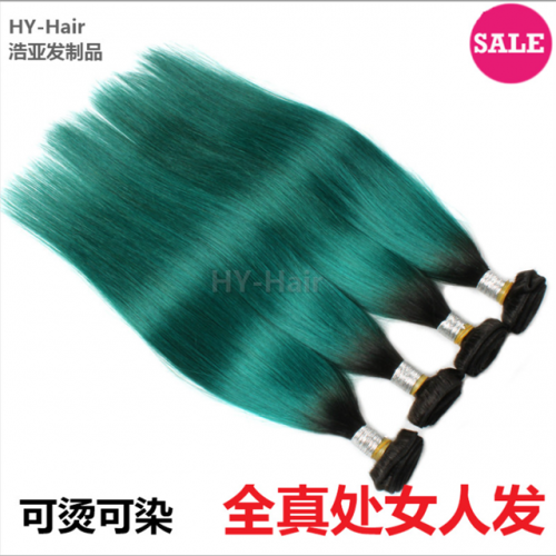 8A ombre Green brazilian virgin Hair straight