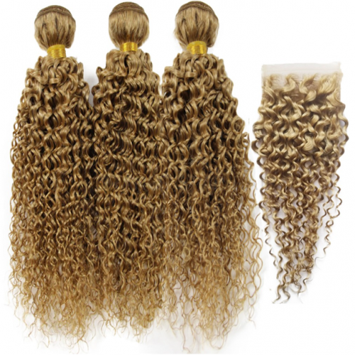100% Human Hair Blonde 27# Kinky Curly With Lace Closure 4x4