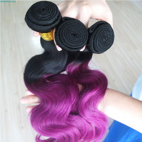 8A ombre virgin human Hair Body WAVE T1B\PURPLE