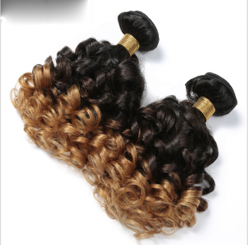 8A Brazilian Virgin Human Hair bouncy Curly T1B/30 color