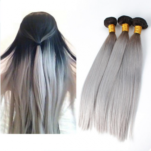8A 1b/grey hair natural ombre hair silky straight hair weave