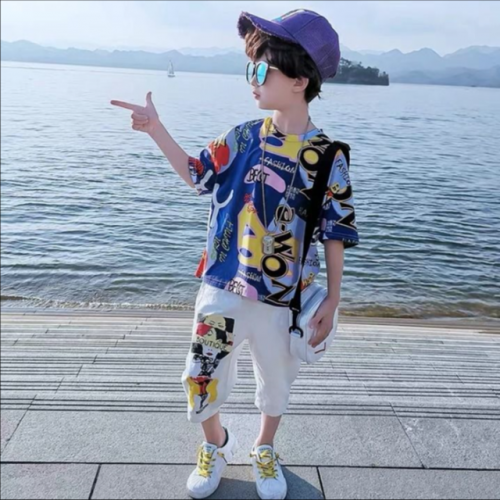 Chinese school children's two-piece set of foreign style leisure Korean version suit