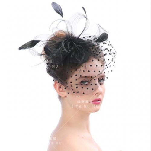 Black-and-white wedding dress studio face-covering net gauze hairpin stage performance lady feather top hat headdress headdress clip bride