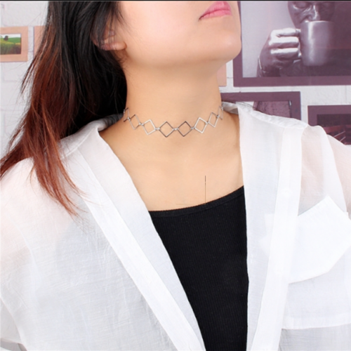 Fashion geometry square lady chain necklace