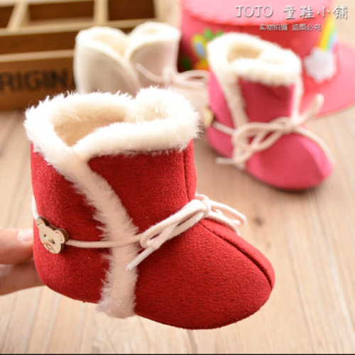 Autumn and winter new girls' snow boots and velveteen warm baby cotton-padded shoes