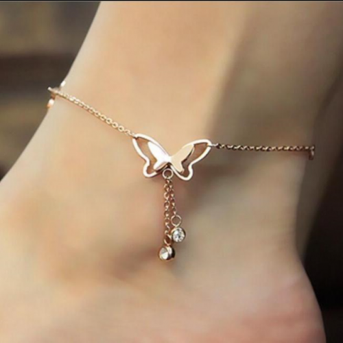 Hollowed-out butterfly anklet adjusting anklet