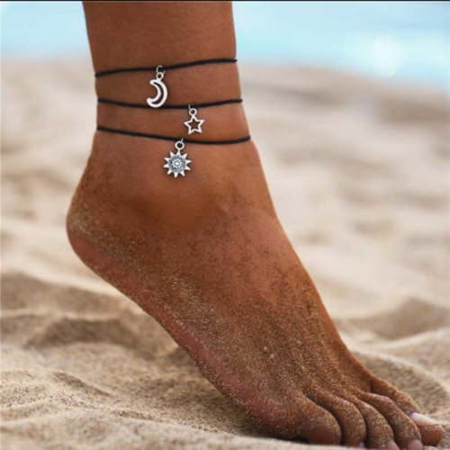 Retro simple star moon sun pendant set three-piece footwear