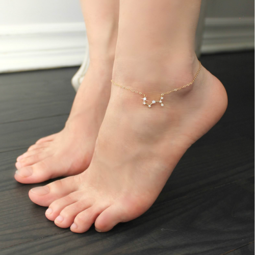 Gold-plated zircon gold-plated letter disc lettering foot chain constellation star chart