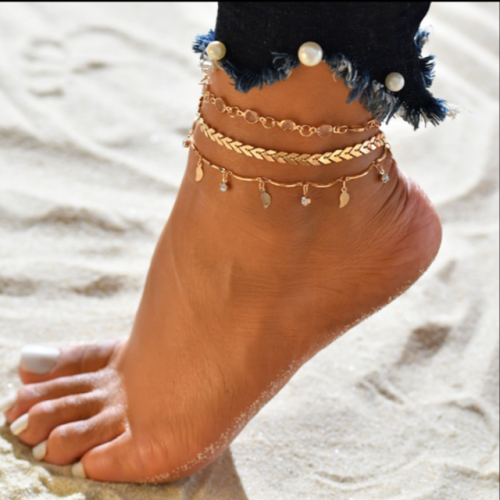 Tassel sequins, small leaf arrowheads, diamond-encrusted three-piece anklet, new style.