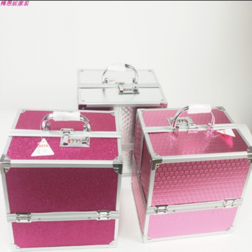 Embroidery make-up nail case professional portable tool box double open aluminum alloy cosmetic box aluminum box
