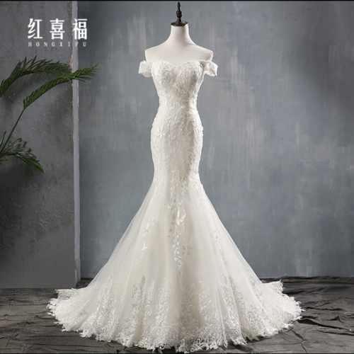 Fishtail light wedding dress 2019 new summer sexy tailing luxury Sen is a thin bride French retro superimmortal