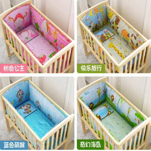 Crib cotton five-piece set removable washbelt cotton core cartoon pattern around the crib