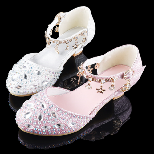 Girls' high-heeled crystal shoes