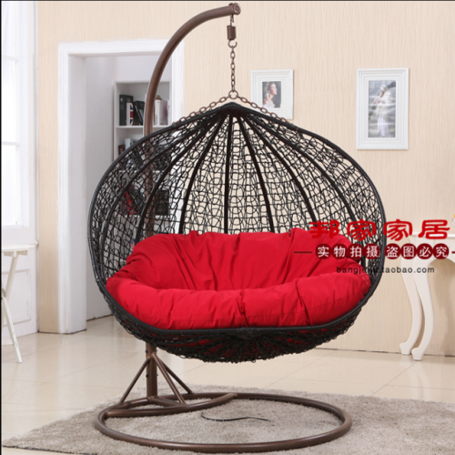 Single double hanging chair adult bird's nest indoor hanging basket rattan chair swing basket chair hanging balcony