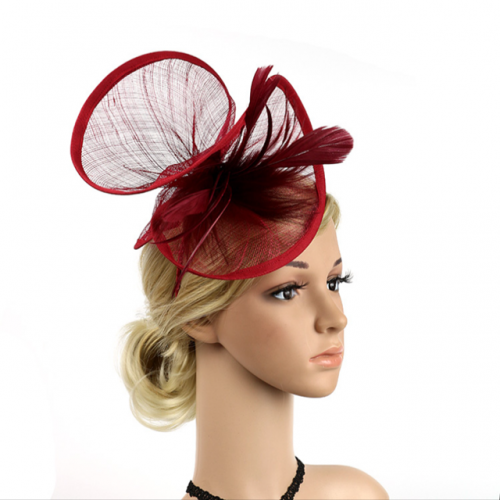 Retro court dinner top hat hair ornament hemp yarn feather flower headdress