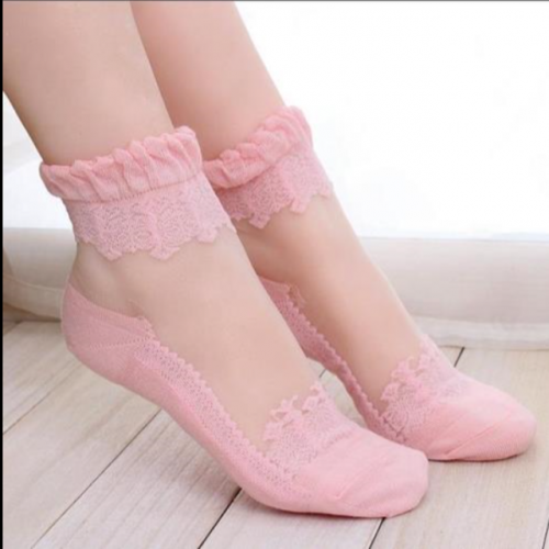 Lace socks ultra-thin crystal socks transparent glass stockings invisible shallow cotton-soled non-skid boat socks