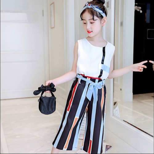 Girls' summer clothes, summer fashion, leisure, foreign style, sleeveless vest, Korean version chiffon wide-leg trousers set, two-piece set