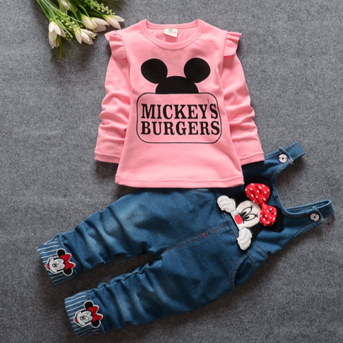 4Mel 9-month-old baby spring denim braces suit 1-year-old 2-year-old 3-year-old girl pure cotton long-sleeved two-piece set