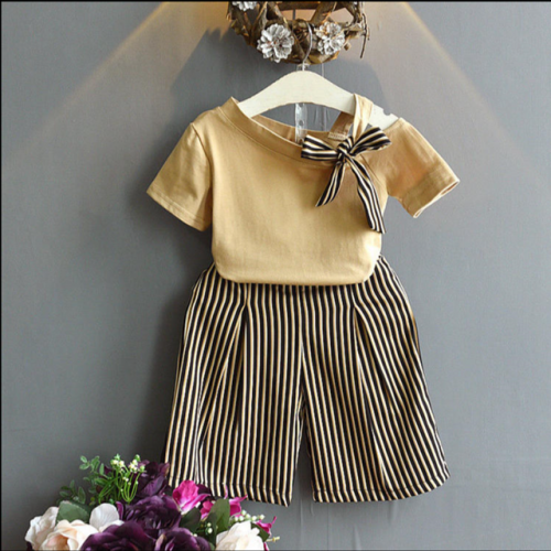 2019 new summer children's wear Korean version of fashionable open-shoulder short-sleeved blouse + striped wide-leg trousers two-piece set