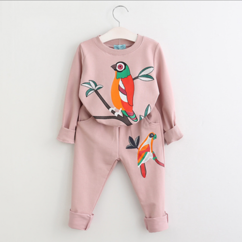 Children's cartoon bird leisure sweater trousers girls two sets of tide