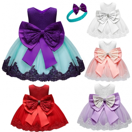 2019 baby first year dress bow tie baby lace dress