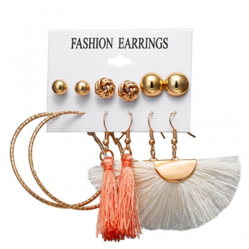woman Bohemia tassel earrings Stud girl Round ear ring Suit