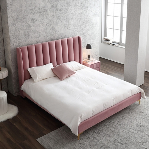 Modern simple ins network celebrity bed pink girl bed