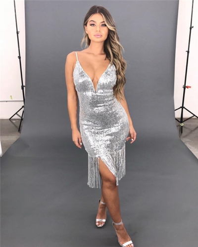 Spring new European and American fashion V-neckband sequined dress tassel temperament medium-length dress party dress 1048