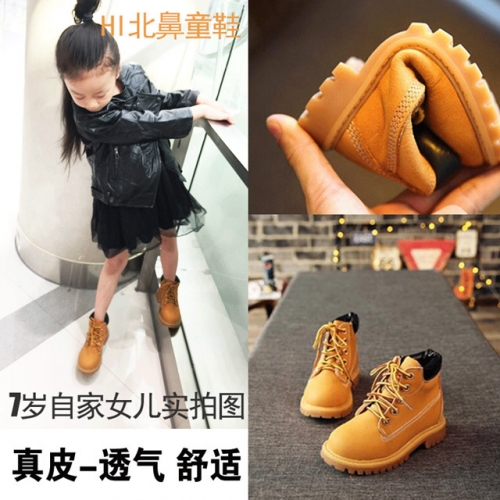 2018 new leather Martin boots small yellow boots boys and girls show short boots waterproof snow boots parent-child single boots
