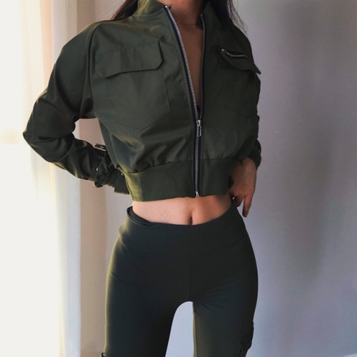 Solid color short-style jacket waist zipper flight jacket BF style loose thin long-sleeved trench coat