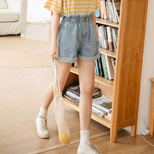 Denim shorts women's wear 2019 summer new Korean version of loose student fashion high waist and wide legs a word denim pants