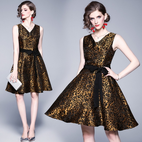 Dress dress new high-end jacquard retro leopard print slim elegant v-collar sleeveless lace a-shaped skirt