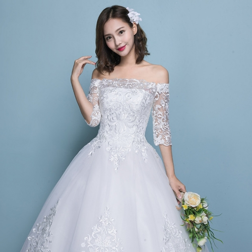 French light wedding dress 2019 new Mori brides shoulder-to-shoulder super immortal show thin simple retro Hepburn winter