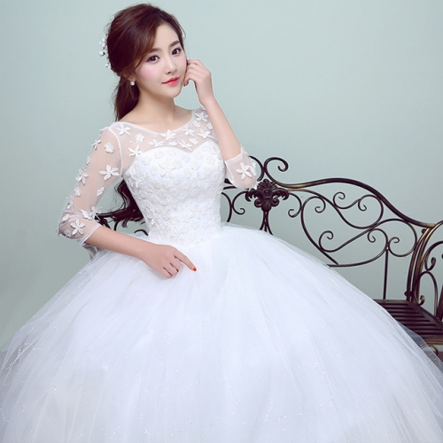 Main wedding dress 2019 New Bride Wedding Winter long-sleeved Korean style self-cultivation Wedding Girl