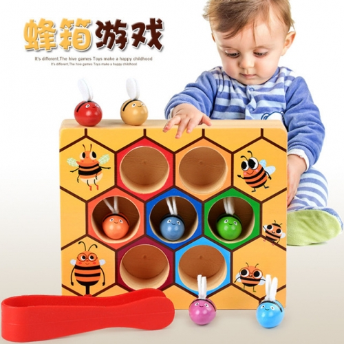Wooden toys with little bees, Montessori education for children, Jiajiaole, early education, color cognition, beehive games.