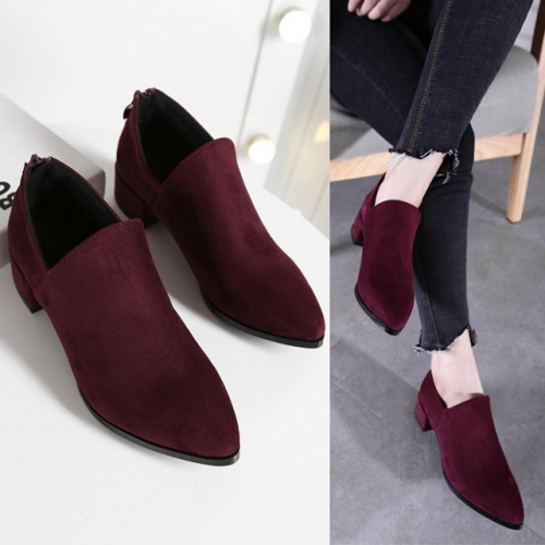 New wine red comfortable, thick-heeled, low-heeled short boots, velvet boots, pointy boots, single bare boots