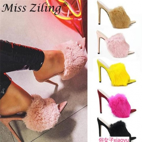 Fashionable women's high-heel slippers big size shoes 42 43