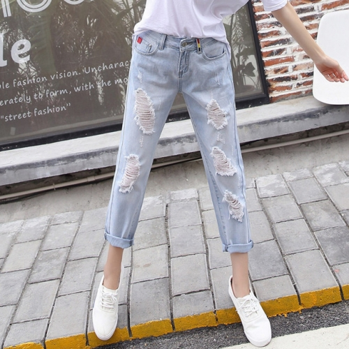 Summer light-colored chic torn jeans women's loose nine-cent pants new style high-waisted straight tube casual Harlan pants