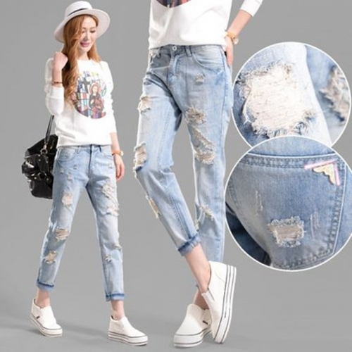 New one-piece Korean version of jeans loopholes loose light-colored women's torn trousers pure cotton trend thin fashion crimping