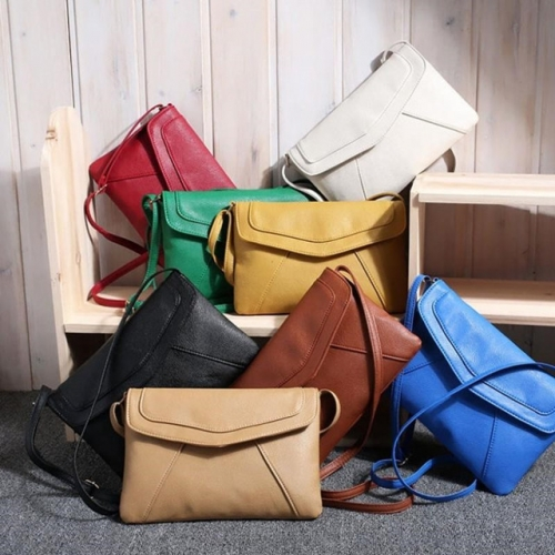 Female bag oF pure color package one shoulder bag aslant