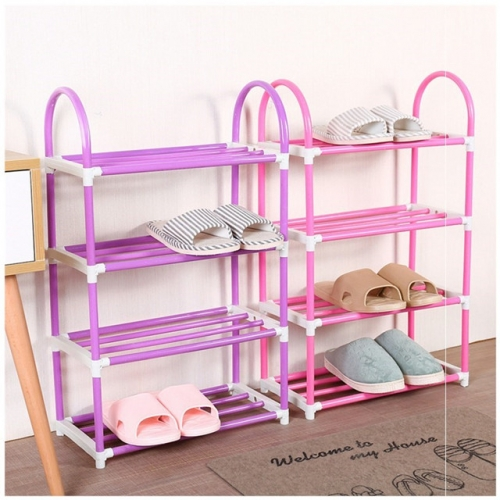A simple, multi-storey doorway mini-shoe rack, narrow plastic single student dormitory, three-story small rack for shoes.