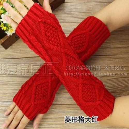 New winter twist half-finger gloves knitted wool to keep warm for men and women with open-finger arm covers