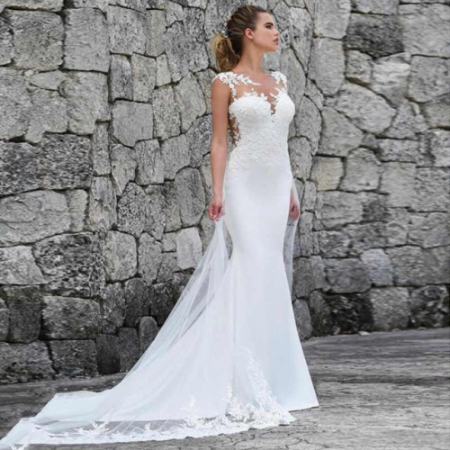 New style foreign trade wedding dress new style shoulder fish tail thin bride wedding simple tailing wedding dress